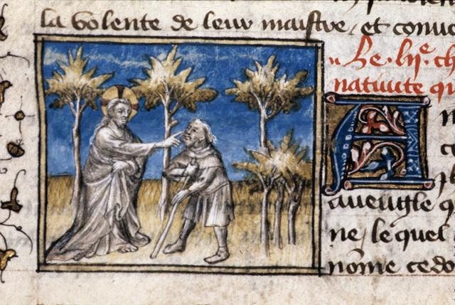 Christ healing from BL Royal 20 B IV, f. 94v