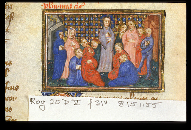 Christ preaching from BL Royal 20 D V, f. 31v