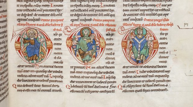 Christ, Virgin, and Bishop from BL Harley 2799, f. 40