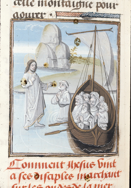 Christ walking on water from BL Royal 15 D I, f. 302v