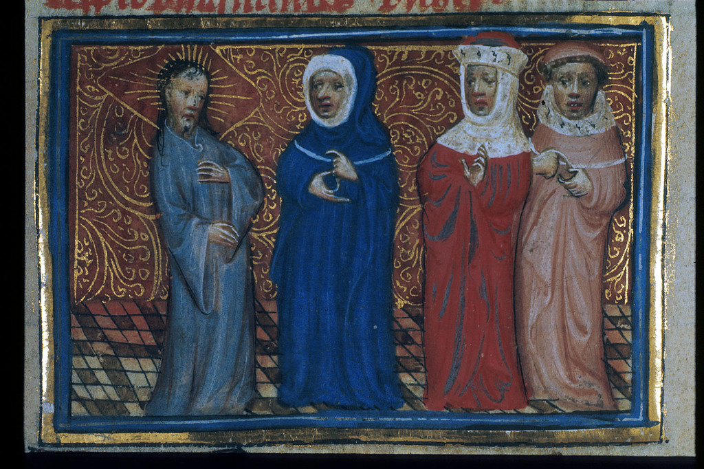 Christ with the Pharisees from BL Royal 20 D V, f. 98