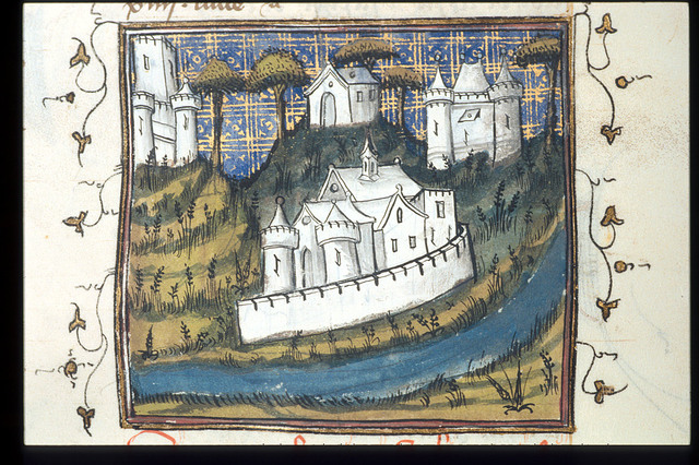 Cities and a river from BL Royal 17 E III, f. 184