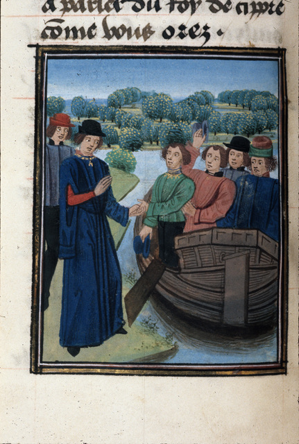 Cleriadus embarking for Cyprus from BL Royal 20 C II, f. 73v