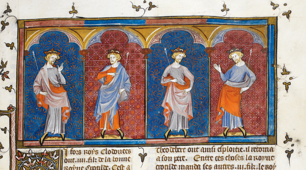 Clodomire, Childebert, Theodoric, and Clothaire from BL Royal 16 G VI, f. 21