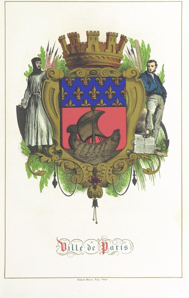 """coat from """"Histoire des Villes de France, avec une introduction générale pour chaque province par A. Guilbert et une Société de Membres de l'Institut, de savants, etc"""""""