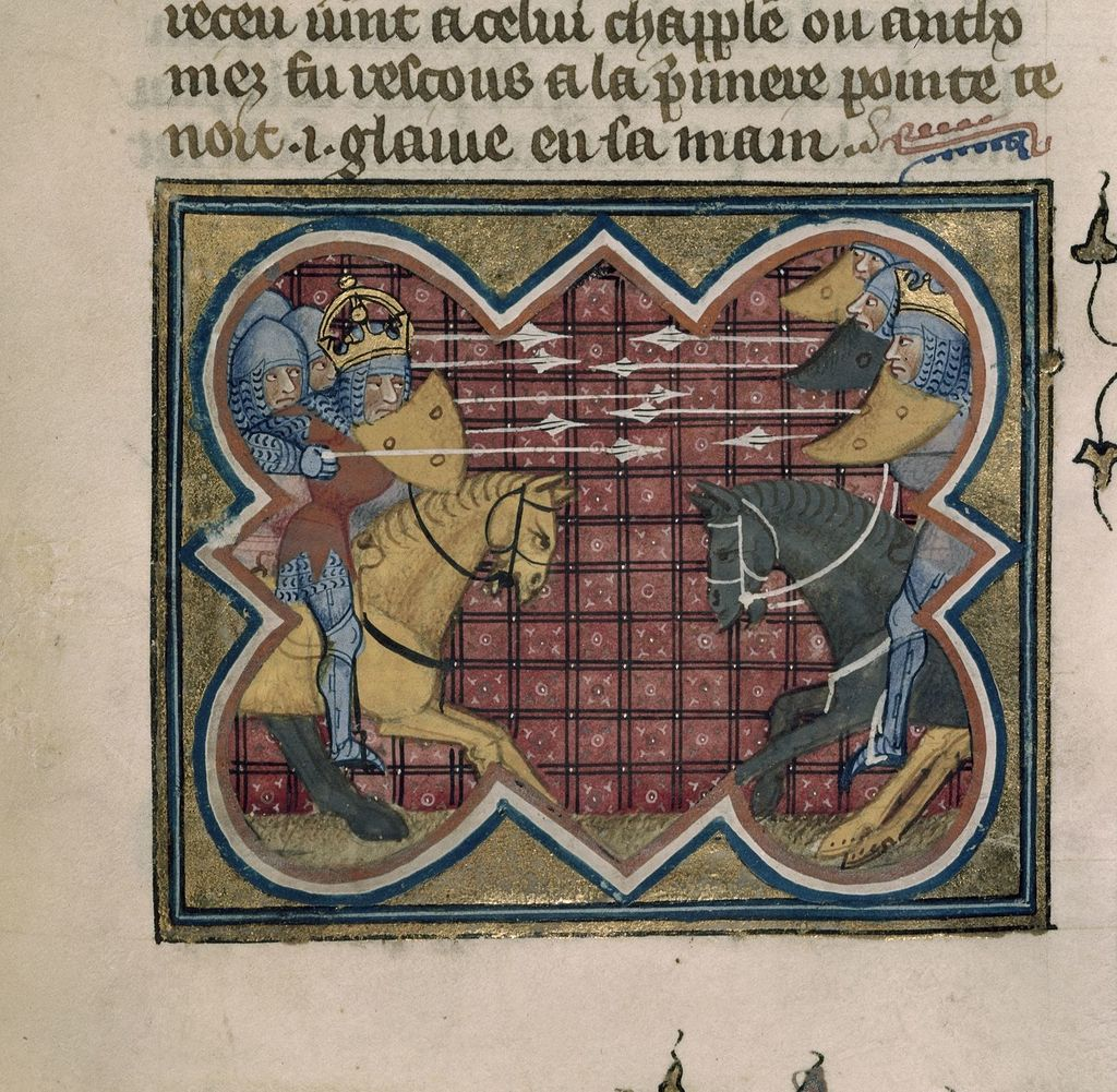 Combat of Caesar and Pompeius from BL Royal 16 G VII, f. 339