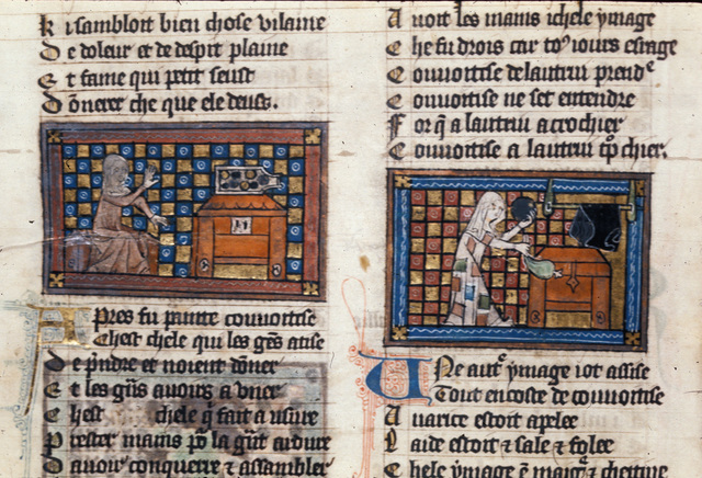 Convoitise and Avarice with treasure chests from BL Royal 20 A XVII, f. 3v