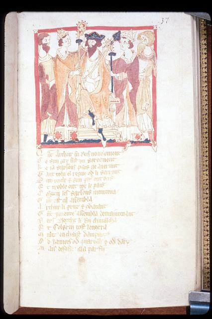 Coronation of Arthur from BL Eg 3028, f. 37