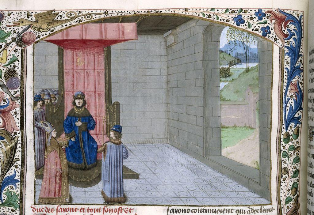 Coronation of Arthur from BL Royal 15 E IV, f. 141v