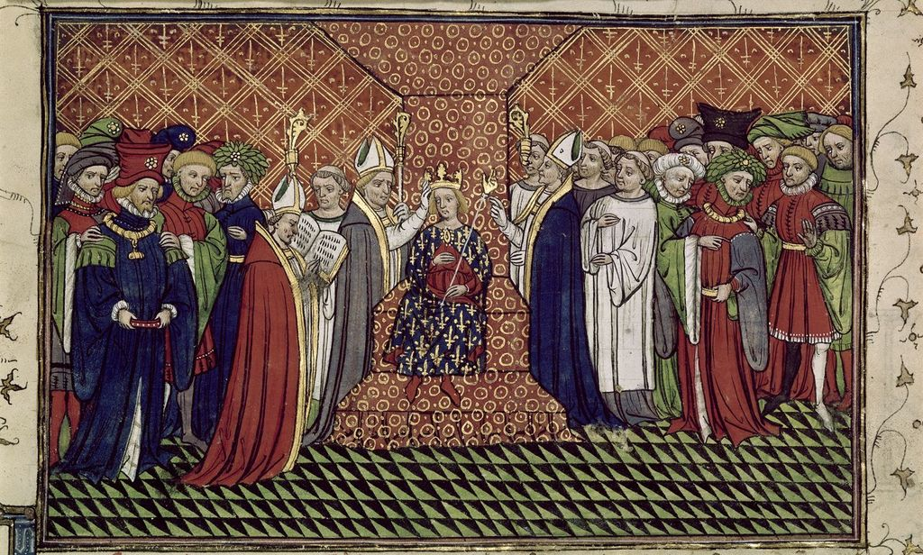 Coronation of Charles VI from BL Royal 20 C VII, f. 216