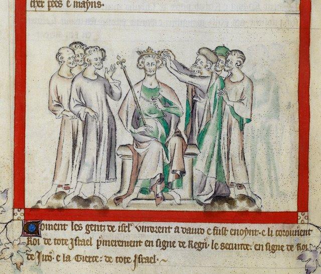 Coronation of David from BL Royal 2 B VII, f. 55v