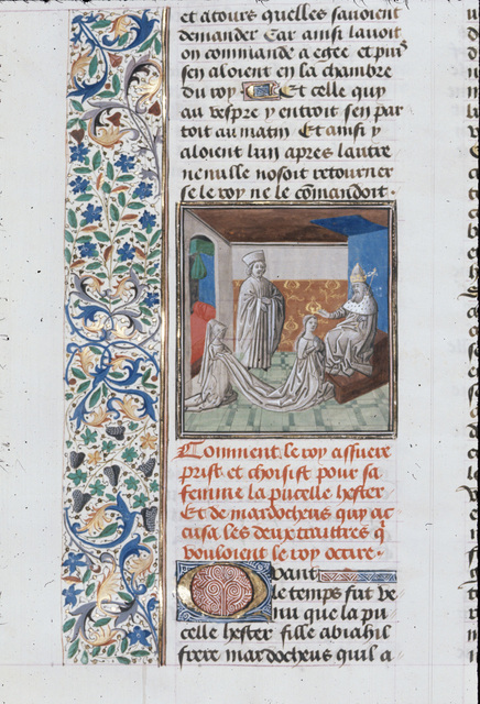 Coronation of Esther from BL Royal 15 D I, f. 93v