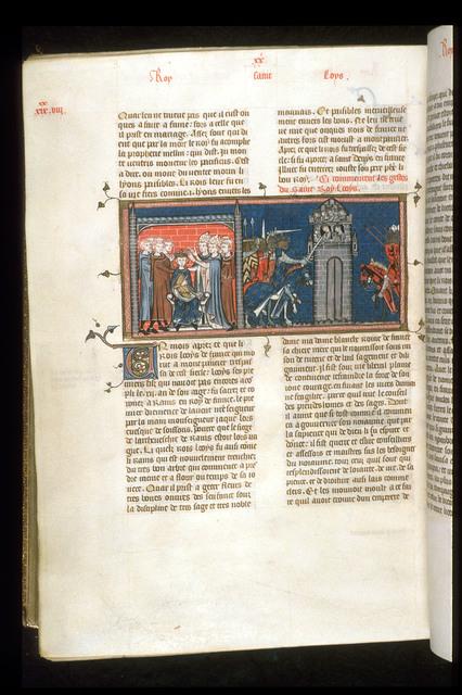 Coronation of Louis IX from BL Royal 16 G VI, f. 390v