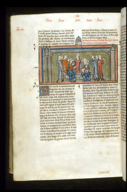 Coronation of Louis VIII and Blanche of Castile from BL Royal 16 G VI, f. 386v
