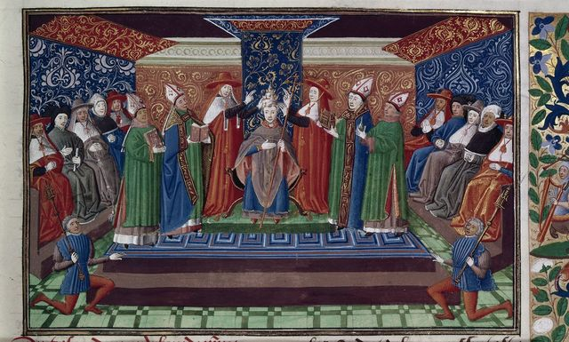 Coronation of Pope Boniface VIII from BL Harley 4379, f. 34