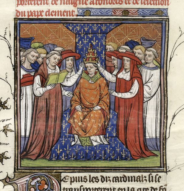 Coronation of Pope Clement VII from BL Royal 20 C VII, f. 208v
