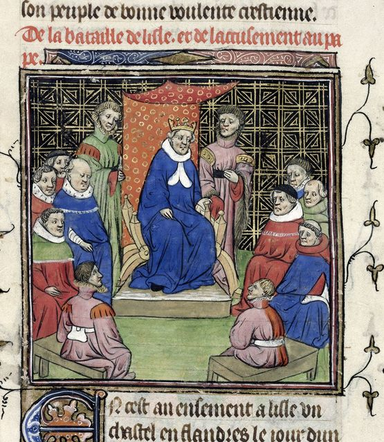 Council of barons and clergy from BL Royal 20 C VII, f. 36v