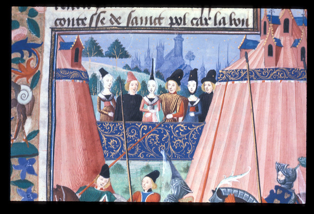 Courtiers at a joust from BL Harley 4379, f. 23v