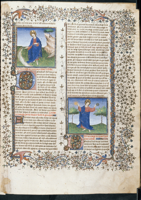 Creation of rivers and the sun and moon from BL Royal 15 D III, f. 5