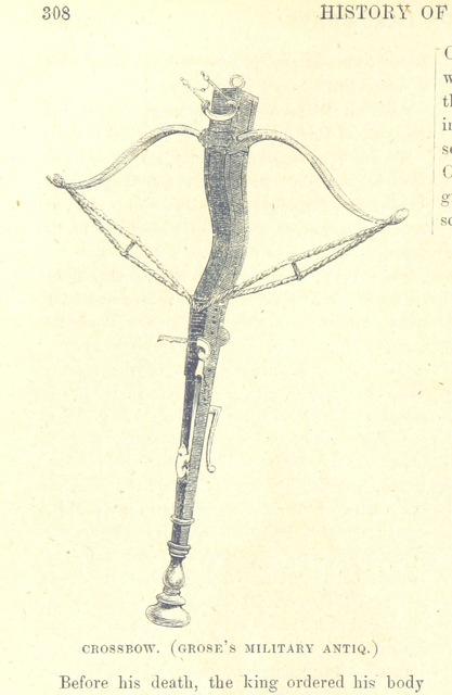 """crossbow from """"The National and Domestic History of England ... With numerous steel plates, coloured pictures, etc"""""""