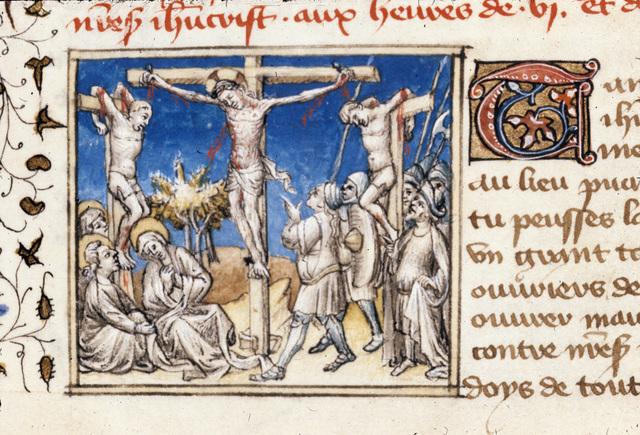 Crucifixion from BL Royal 20 B IV, f. 123v