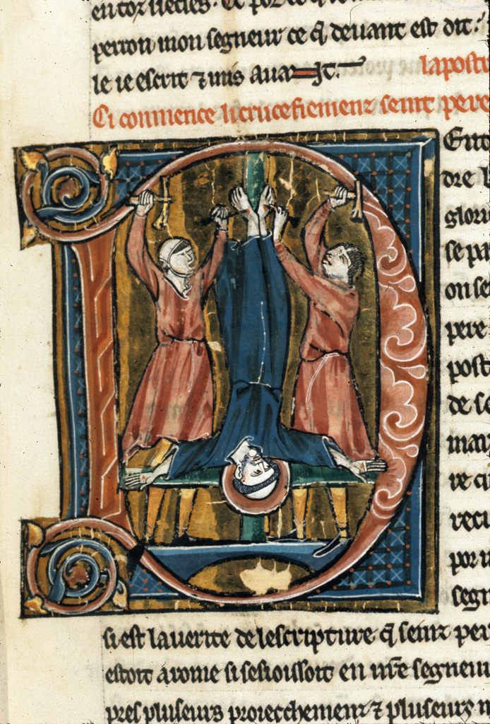 Crucifixion of Peter from BL Royal 20 D VI, f. 6