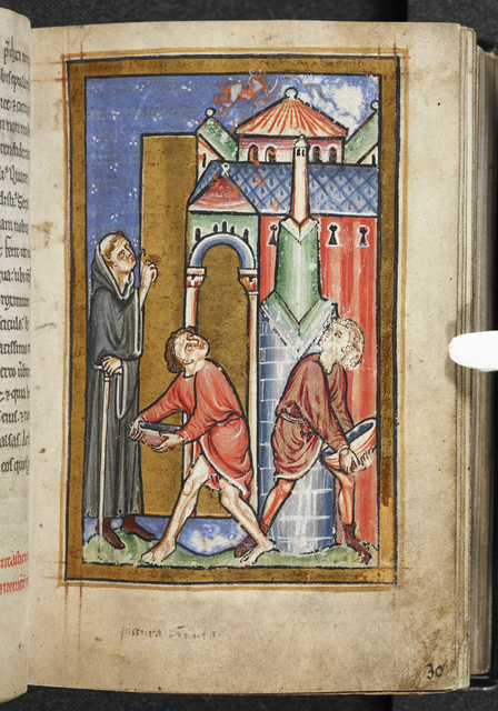 Cuthbert extinguishing a fire set by a demon from BL YT 26, f. 30