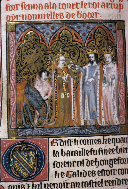 Damsel of Hungerford with Arthur and Guinevere from BL Royal 20 D IV, f. 102v