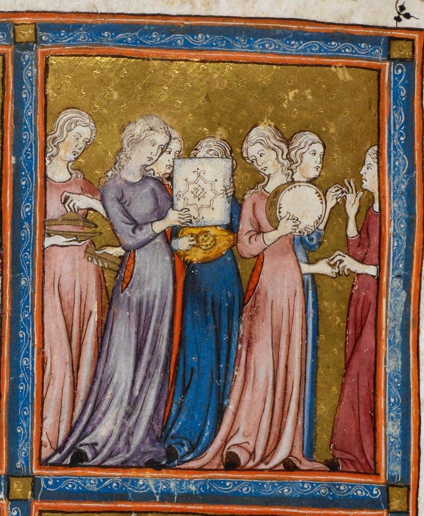 Dance of Miriam from BL Add 27210, f. 15