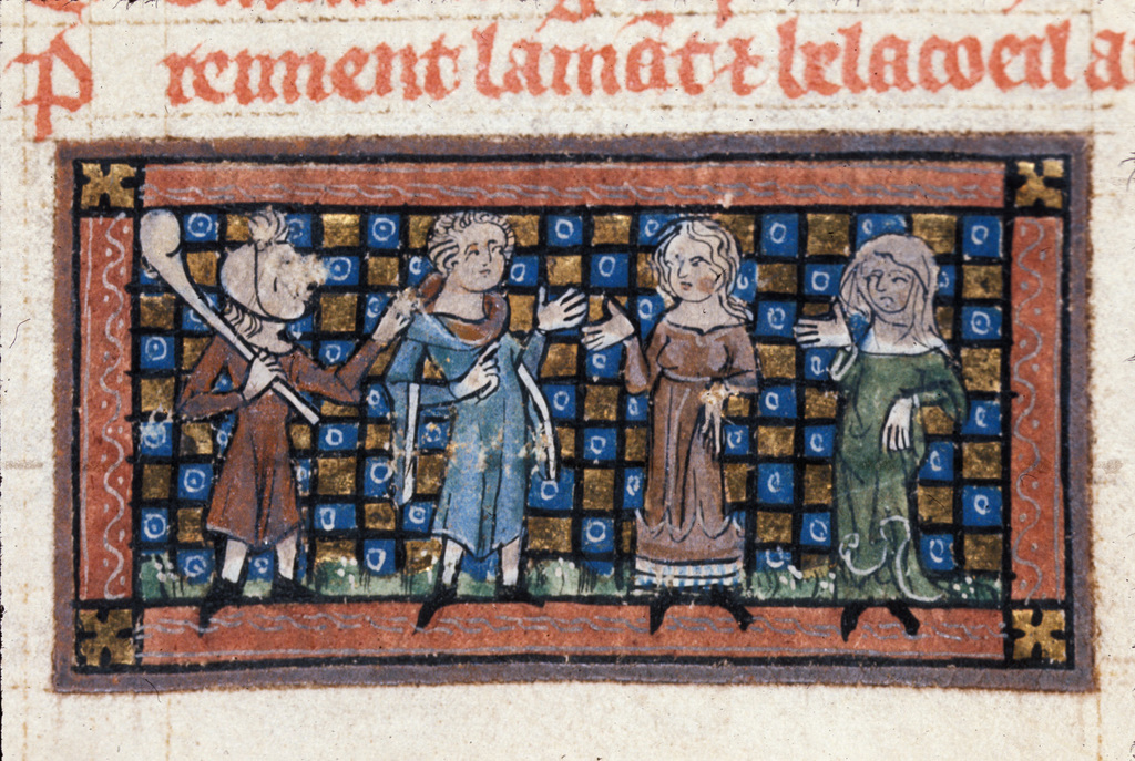 Dangier, Paour, and Honte with the dreamer from BL Royal 20 A XVII, f. 121