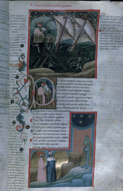 Dante embarks on a ship, and disembarks in Purgatory from BL Eg 943, f. 63