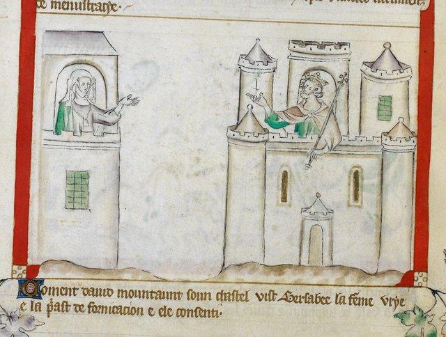 David and Bathsheba from BL Royal 2 B VII, f. 56v