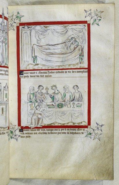 David and Bathsheba from BL Royal 2 B VII, f. 57