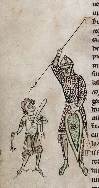 David and Goliath from BL Harley 2803, f. 126v