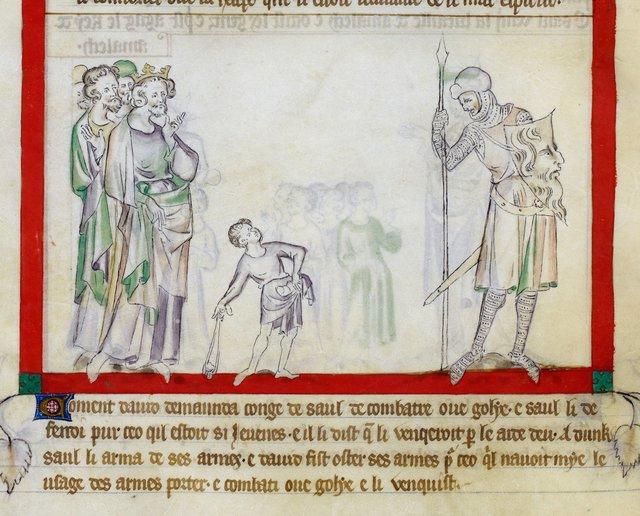David and Goliath from BL Royal 2 B VII, f. 51v