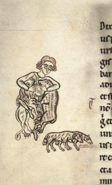 David and his sheep from BL Harley 2803, f. 126v