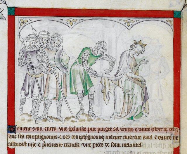 David and Saul from BL Royal 2 B VII, f. 52v