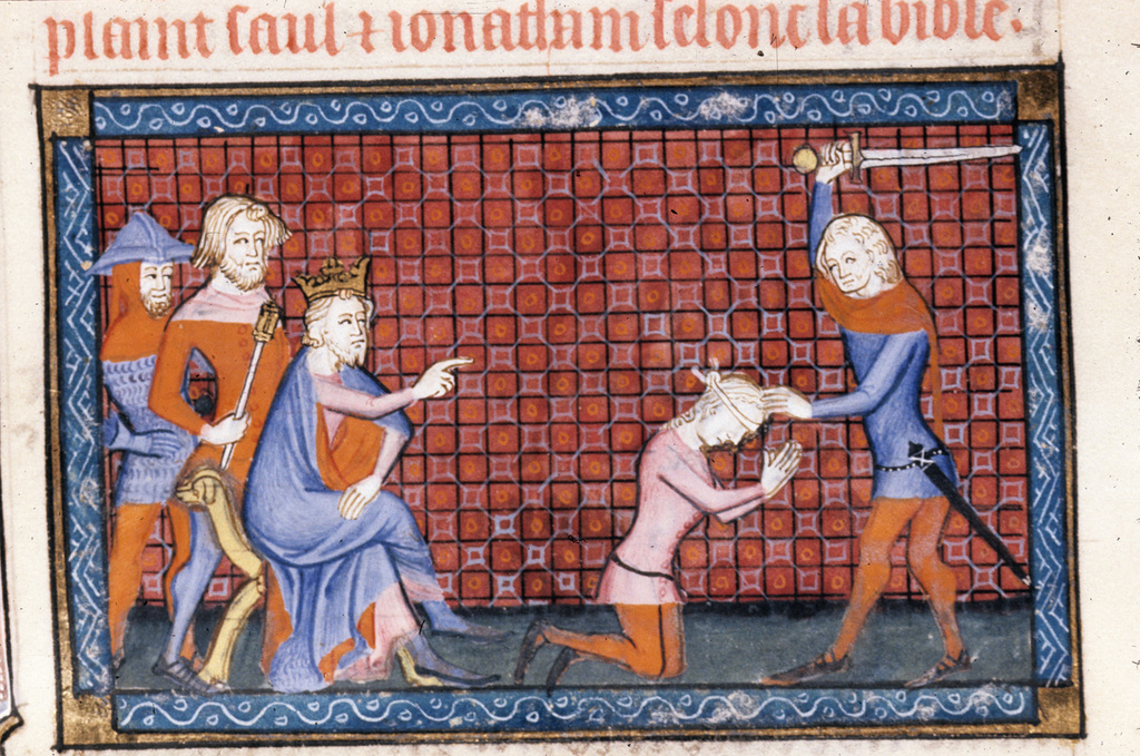 David and the Amalekite from BL Royal 19 D II, f. 142