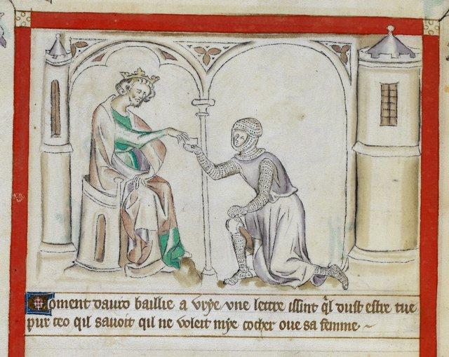 David and Uriah from BL Royal 2 B VII, f. 57v