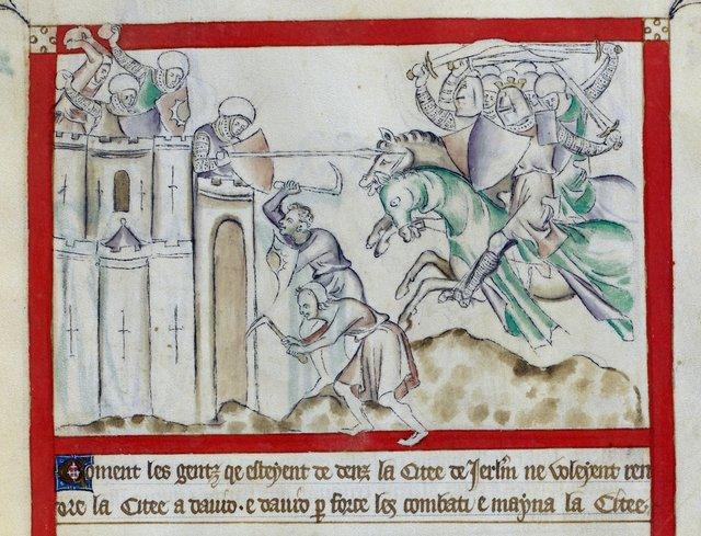 David besieging Jerusalem from BL Royal 2 B VII, f. 56