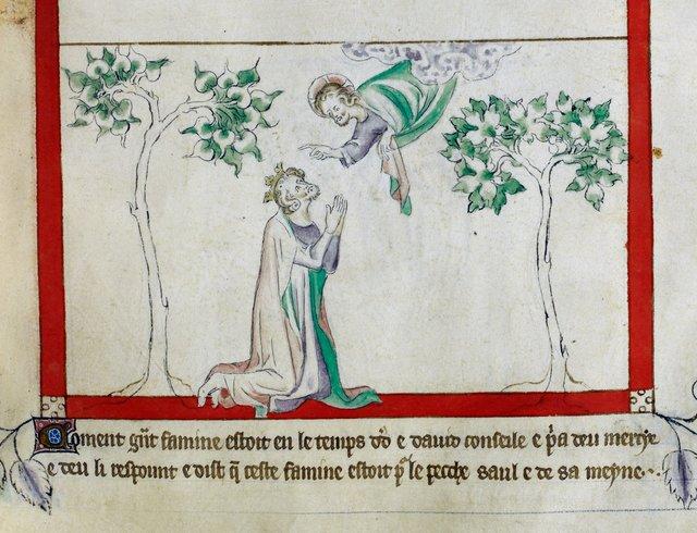 David praying from BL Royal 2 B VII, f. 61