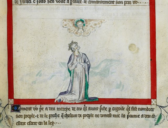 David praying from BL Royal 2 B VII, f. 62