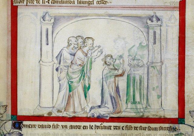 David sacrificing from BL Royal 2 B VII, f. 63