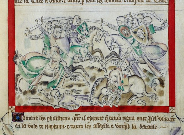 David's army from BL Royal 2 B VII, f. 56