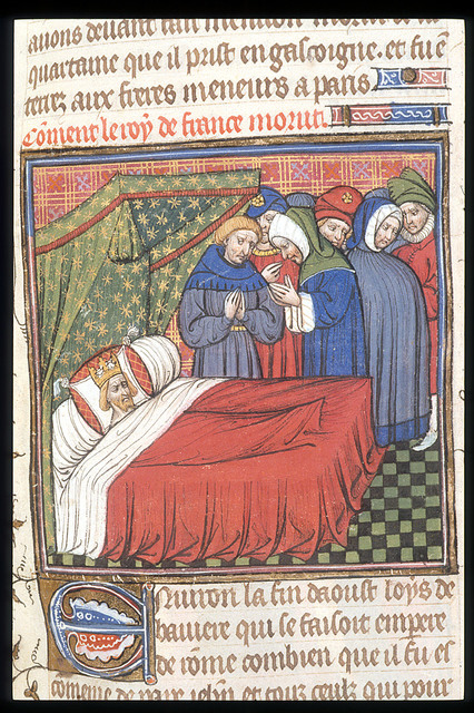 Death-bed of Charles IV from BL Royal 20 C VII, f. 68