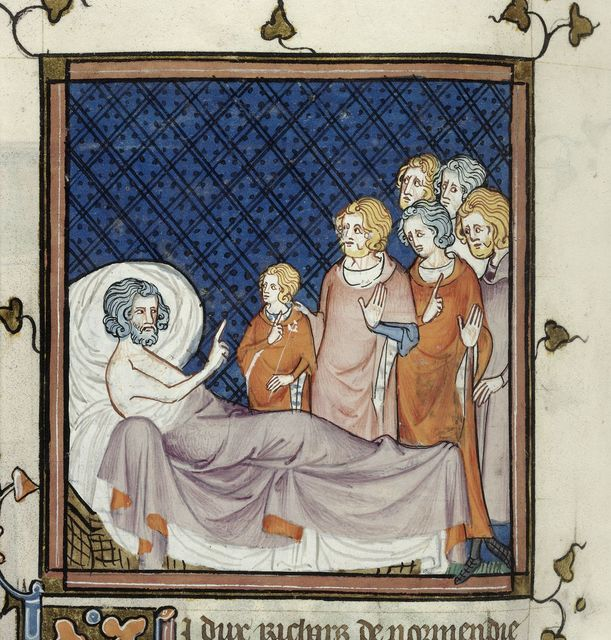 Death-bed of Duke Richard of Normandy from BL Royal 16 G VI, f. 259v