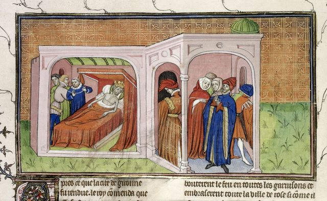 Death-bed of Philip from BL Royal 20 C VII, f. 21v