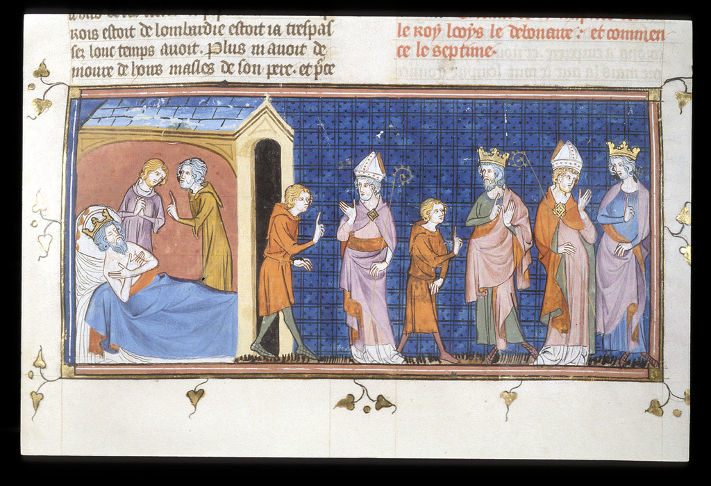 Death of Charlemagne from BL Royal 16 G VI, f. 194