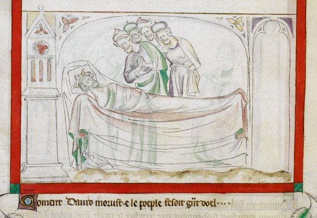 Death of David from BL Royal 2 B VII, f. 64v