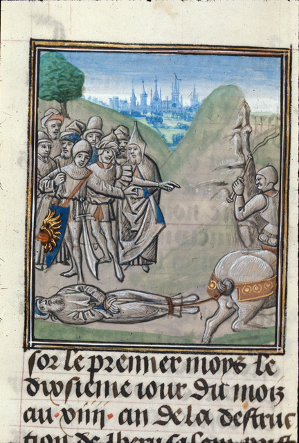 Death of Ezekiel from BL Royal 15 D I, f. 36v